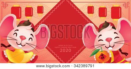Chinese New Year 2020. Cute Rat Mice Holding Gold Ingot And Tangerine Orange On Hanging Lanterns Bac