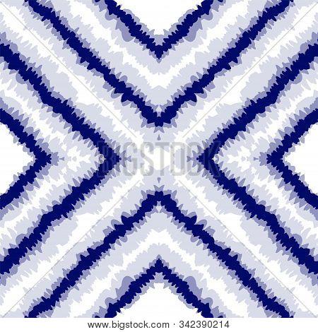 Ocean Striped Vector Seamless Pattern. Cobalt Bohemian Batik Japanese Print. Red Shibori Drawing Orn