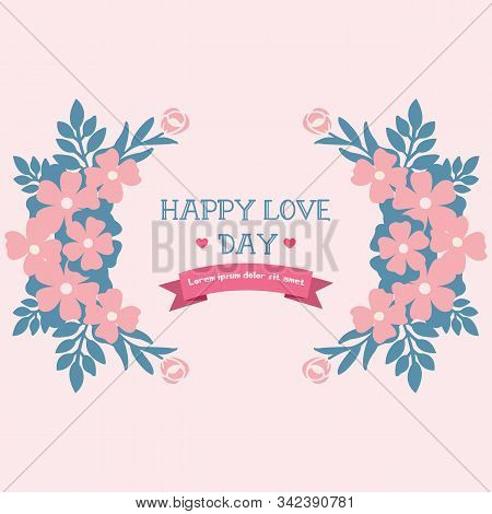 Decorative Of Happy Love Day Romantic Greeting Card, With Beautiful Peach Wreath Frame. Vector