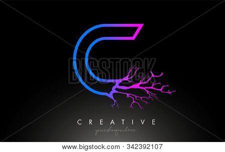 Tree Letter C Design Logo With Purple Blue Tree Branch. C Letter Tree Icon Logo Vector Illustration.