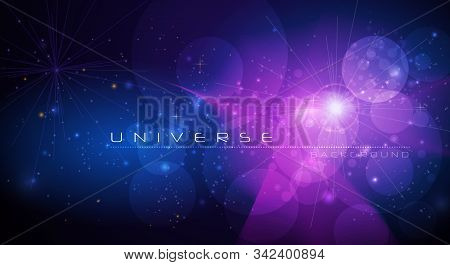 Vector Abstract Of Cosmos. Illustration Night Sky, Cosmic Galaxy Background With Nebula, Stardust An