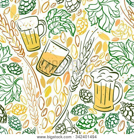 Beer, Cone Of Hop, Grain. Vector Real Seamless Pattern. Alcohol Drink In Mug, Ears Of Wheat. Graphic
