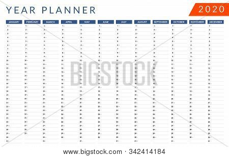 Year Planner 2020. Dark Blue And Lava Colors. Wall Calendar. Vector