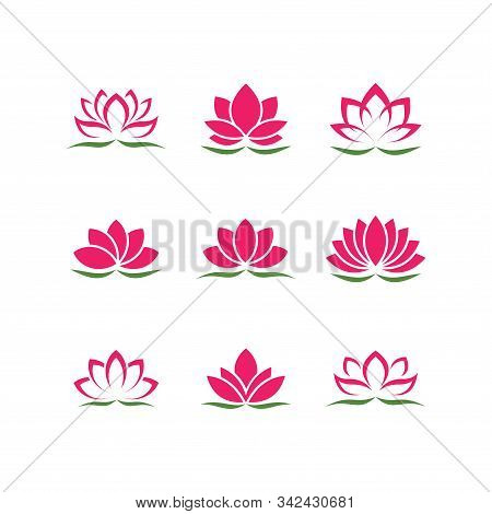 Lotus Flower Set. Lotus Symbol Or Icon For Spa Salon, Yoga Class Or Wellness Industry
