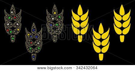 Flare Mesh Rice Icon With Sparkle Effect. Abstract Illuminated Model Of Rice. Shiny Wire Frame Polyg