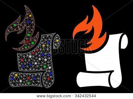 Glossy Mesh Burn Manuscript Icon With Glare Effect. Abstract Illuminated Model Of Burn Manuscript. S