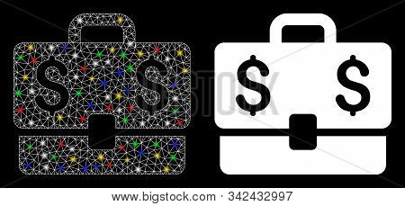 Glowing Mesh Accounting Case Icon With Lightspot Effect. Abstract Illuminated Model Of Accounting Ca