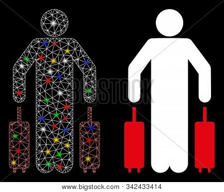Glowing Mesh Passenger Luggage Icon With Sparkle Effect. Abstract Illuminated Model Of Passenger Lug