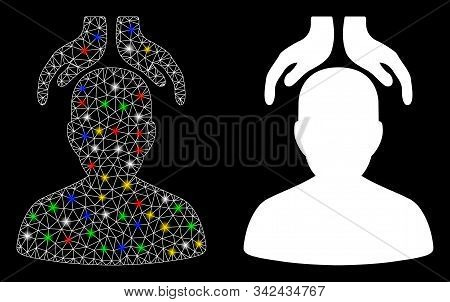 Flare Mesh Psychiatry Hands Icon With Glare Effect. Abstract Illuminated Model Of Psychiatry Hands.