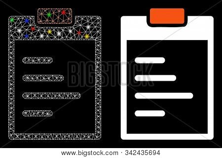 Glowing Mesh Pad Text Icon With Glare Effect. Abstract Illuminated Model Of Pad Text. Shiny Wire Car
