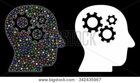 Glossy Mesh Intellect Gears Icon With Sparkle Effect. Abstract Illuminated Model Of Intellect Gears.