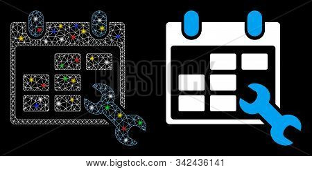 Glowing Mesh Configure Timetable Icon With Glitter Effect. Abstract Illuminated Model Of Configure T