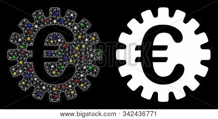 Flare Mesh Euro Cog Icon With Glow Effect. Abstract Illuminated Model Of Euro Cog. Shiny Wire Frame