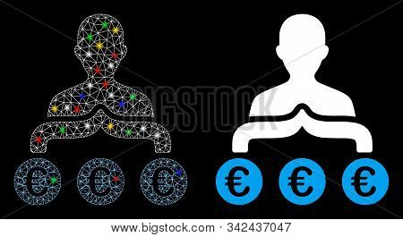 Glossy Mesh Euro Capitalist Icon With Sparkle Effect. Abstract Illuminated Model Of Euro Capitalist.