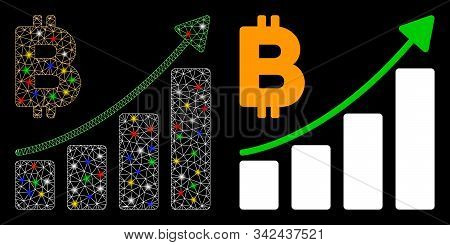 Glossy Mesh Bitcoin Growth Trend Icon With Glare Effect. Abstract Illuminated Model Of Bitcoin Growt