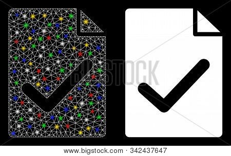 Glowing Mesh Valid Agreement Page Icon With Glitter Effect. Abstract Illuminated Model Of Valid Agre