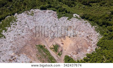 Landfill, Landfill Waste Removal Top View From A Drone