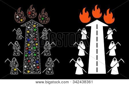 Glossy Mesh Road To Hell Fire Icon With Glitter Effect. Abstract Illuminated Model Of Road To Hell F