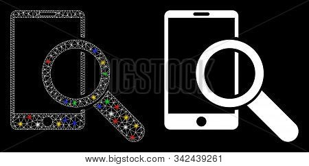 Glossy Mesh Find Smartphone Icon With Sparkle Effect. Abstract Illuminated Model Of Find Smartphone.