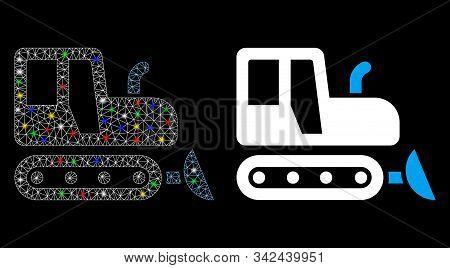 Glossy Mesh Bulldozer Icon With Glare Effect. Abstract Illuminated Model Of Bulldozer. Shiny Wire Ca