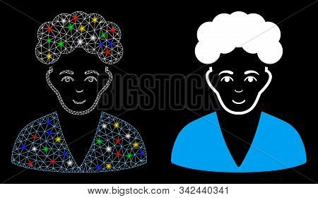 Glowing Mesh Brunette Boy Icon With Glitter Effect. Abstract Illuminated Model Of Brunette Boy. Shin