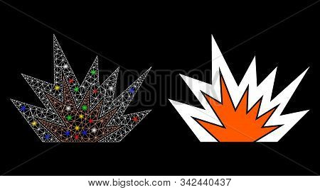 Glossy Mesh Explosion Boom Icon With Glare Effect. Abstract Illuminated Model Of Explosion Boom. Shi