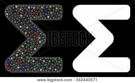 Bright Mesh Sum Icon With Glow Effect. Abstract Illuminated Model Of Sum. Shiny Wire Frame Triangula