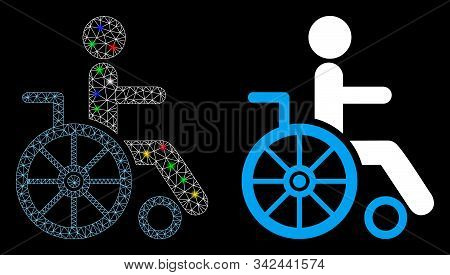 Glossy Mesh Wheelchair Icon With Sparkle Effect. Abstract Illuminated Model Of Wheelchair. Shiny Wir
