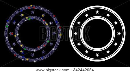 Flare Mesh Double Round Starred Frame Icon With Glare Effect. Abstract Illuminated Model Of Double R