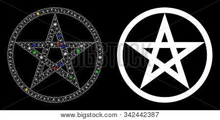 Glowing Mesh Star Pentacle Icon With Lightspot Effect. Abstract Illuminated Model Of Star Pentacle.