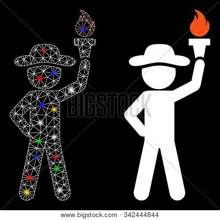 Glossy Mesh Gentleman With Freedom Torch Icon With Glitter Effect. Abstract Illuminated Model Of Gen