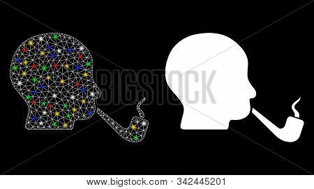 Flare Mesh Smoking Detective Icon With Glitter Effect. Abstract Illuminated Model Of Smoking Detecti
