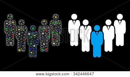 Glowing Mesh Department Staff Icon With Glow Effect. Abstract Illuminated Model Of Department Staff.