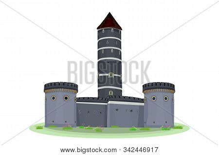 Cartoon Medieval Tower Of A Castle Isolated On White Background. Medieval Castle With Fortified Wall