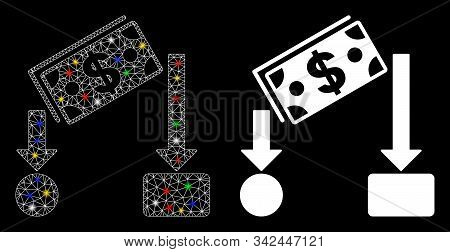 Glossy Mesh Cash Flow Icon With Glitter Effect. Abstract Illuminated Model Of Cash Flow. Shiny Wire