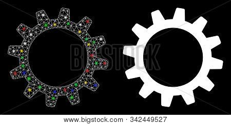 Glossy Mesh Cogwheel Icon With Sparkle Effect. Abstract Illuminated Model Of Cogwheel. Shiny Wire Ca