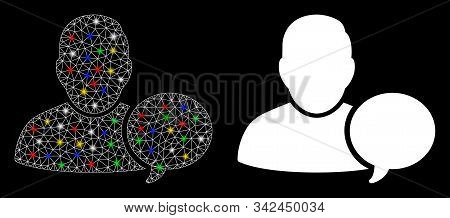 Flare Mesh User Hint Balloon Icon With Sparkle Effect. Abstract Illuminated Model Of User Hint Ballo