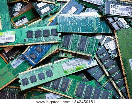 Wien/austria - June 4 2019: Pile Of Discarded Computer Memory Boards  Sorted On A Bin  In A Recyclin
