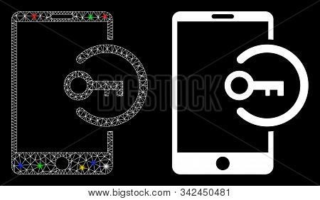 Glowing Mesh Key Login Smartphone Icon With Glow Effect. Abstract Illuminated Model Of Key Login Sma