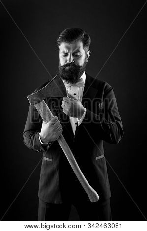 Bring more style for bearded face. Bearded man keep axe. Bearded hipster in classic tux style. Unshaven groom with bearded face. Shaving salon. Barbershop. poster