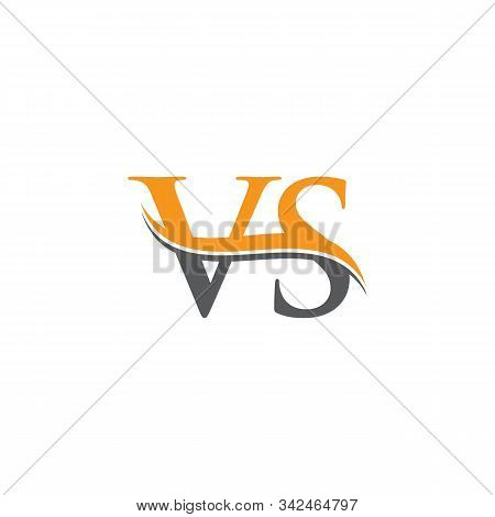Initial Vs Letter Linked Logo. Creative Letter Vs Logo Vector With Blue And Grey Colors. Vs Logo Des