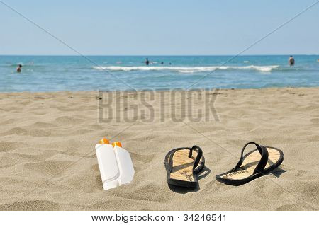 Slippers On Beach