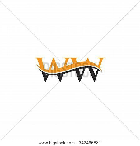 Initial Ww Letter Linked Logo. Creative Letter Ww Logo Vector With Blue And Grey Colors. Ww Logo Des