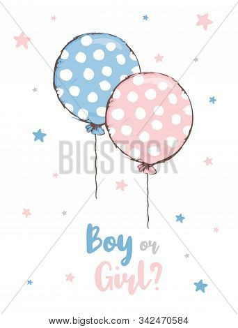 Cute Baby Shower Vector Illustration. Round Shape Pink And Blue Dotted Balloon. Flying Pink And Blue