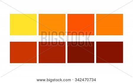 Orange Color Tile Illustration Shade And Ligths Palette For Cartoon Design. Template To Pick Color S