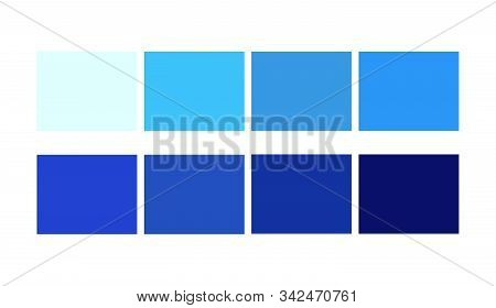 Blue Color Libraries Shade And Ligths Palette For Cartoon Design. Template To Pick Color Swatches.