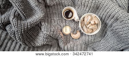 Cozy Home Concept, Danish Hygge Style And Their Art Of Happy Life, Mood Of Coziness With Feelings Of