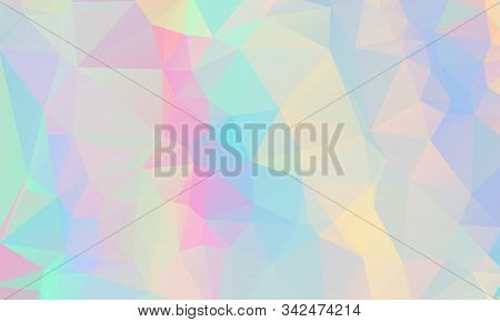 Low Poly Grid Abstract Holographic Background With Polygons, Triangles. Holographic Geometric Patter