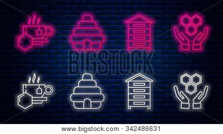 Set Line Hive For Bees, Hive For Bees, Cup Of Tea With Honey And Honeycomb And Hands. Glowing Neon I