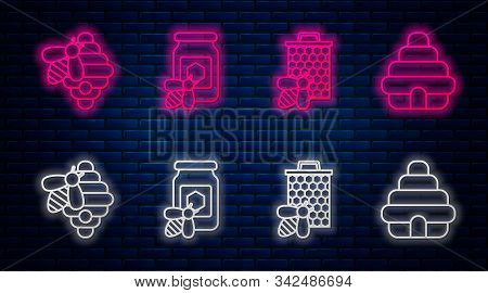 Set Line Jar Of Honey With Bee, Bee And Honeycomb, Hive For Bees And Hive For Bees. Glowing Neon Ico
